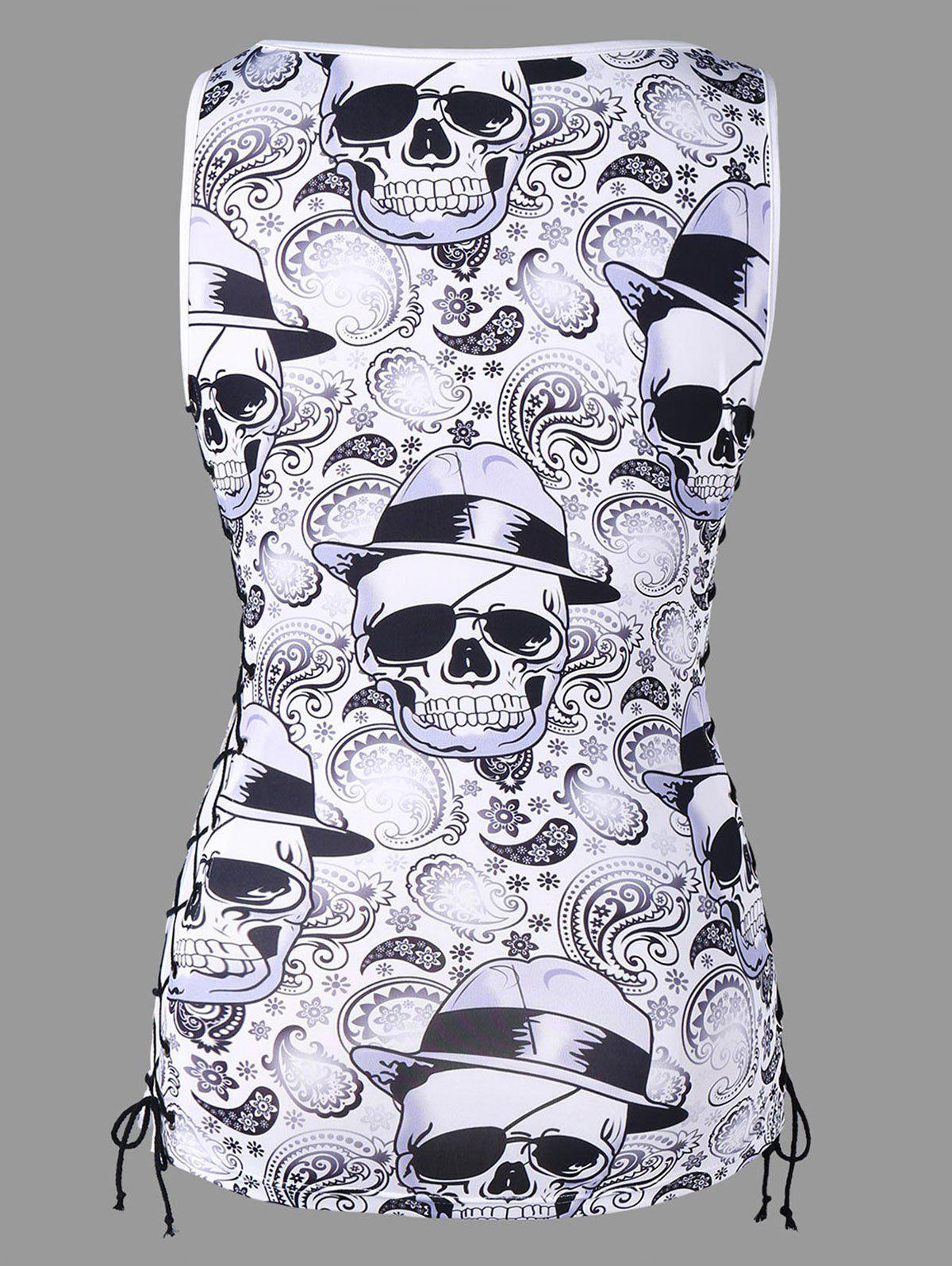 Skulls Lace Up Tank Top - WHITE/BLACK L
