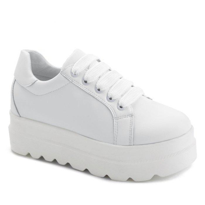 Faux Leather Lace Up Platform Shoes - WHITE 37