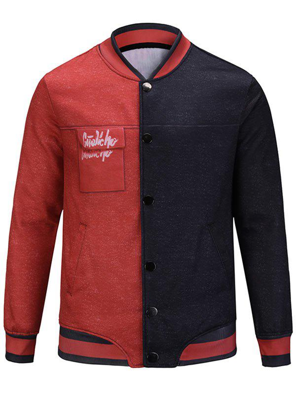 Button Up Two Tone Graphic Jacket - RED/BLACK XL