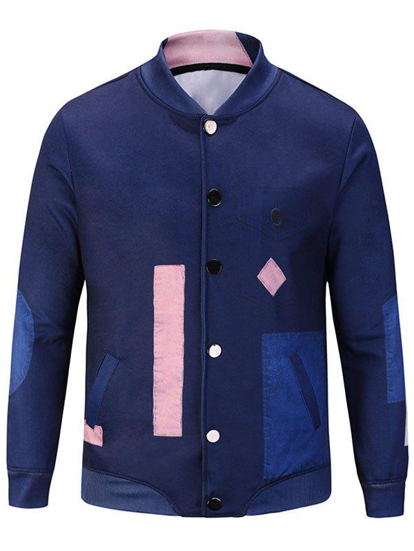 Stand Collar Button Up Color Block Jacket - DEEP BLUE L