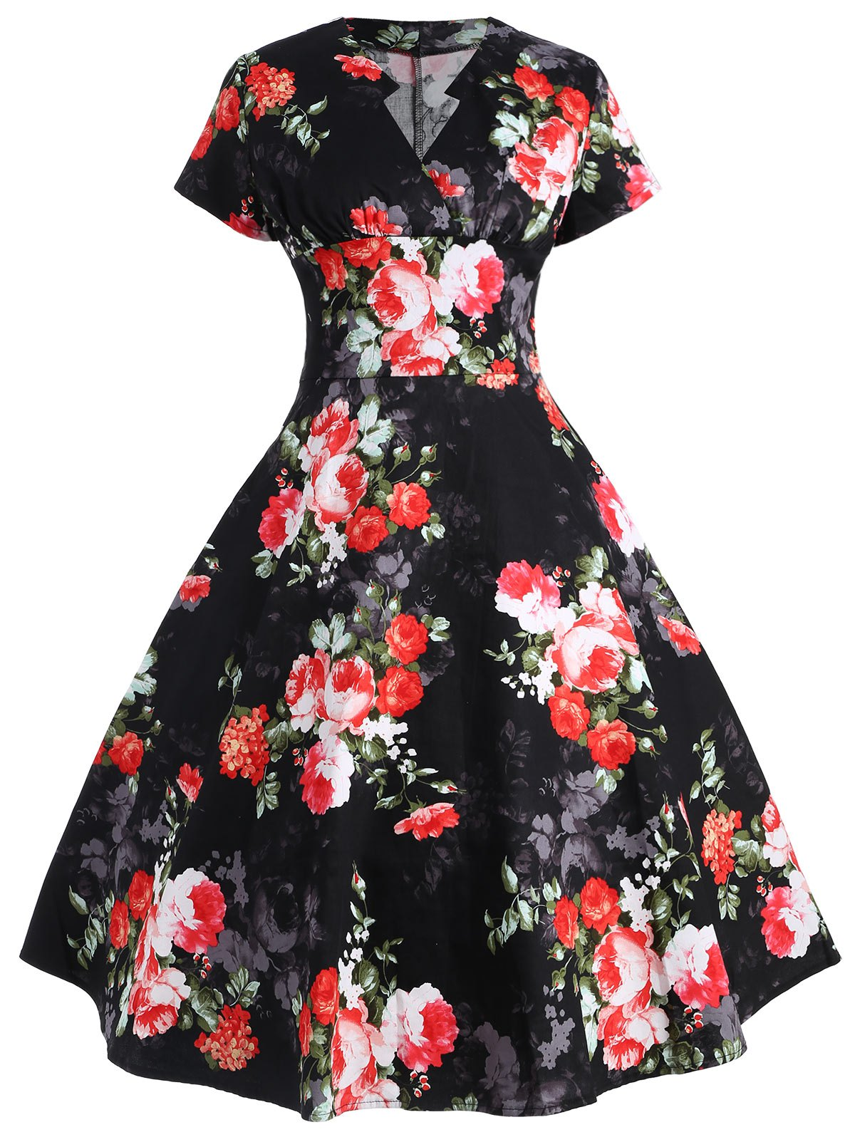 Floral Printed Empire Waist Flare Dress floral printed empire waist dress with tube top
