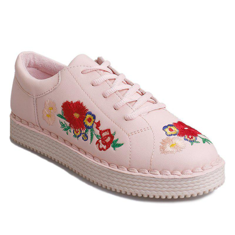 Faux Leather Floral Embroidery Sneakers - PAPAYA 40