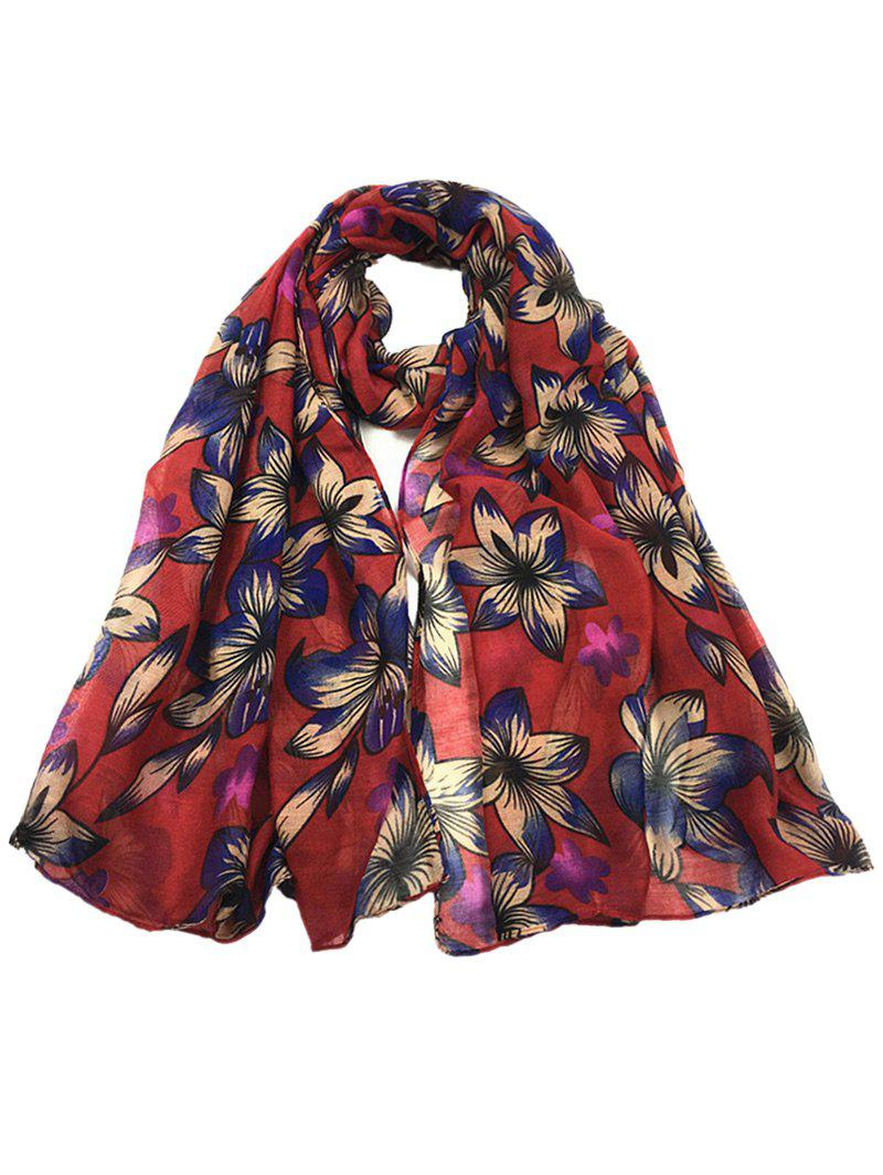 Vintage Flourishing Flowers Pattern Spring Fall Scarf - WINE RED