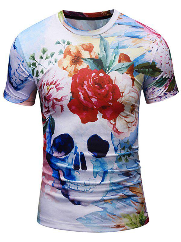 Short Sleeve Crew Neck Floral Skull Print Tee crew neck long sleeve floral tee