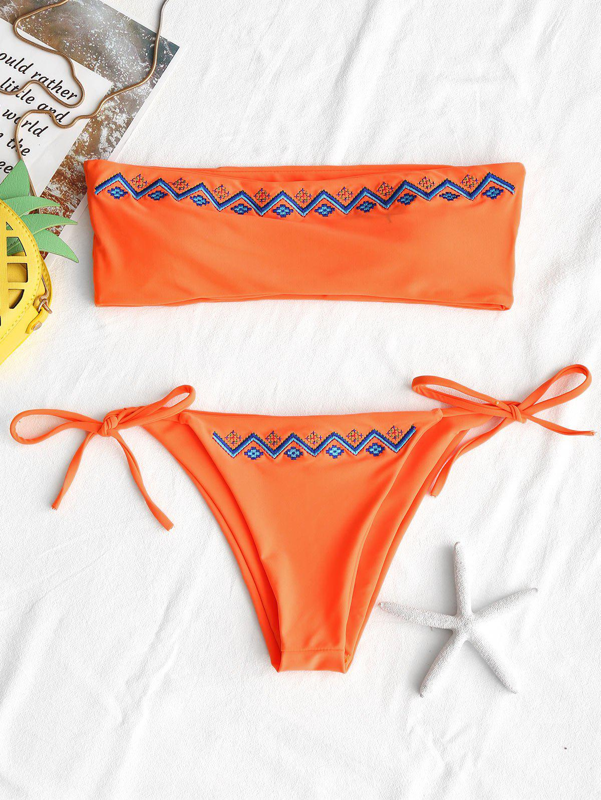 String Embroidered Bandeau Bikini Set embroidered halter string bikini set