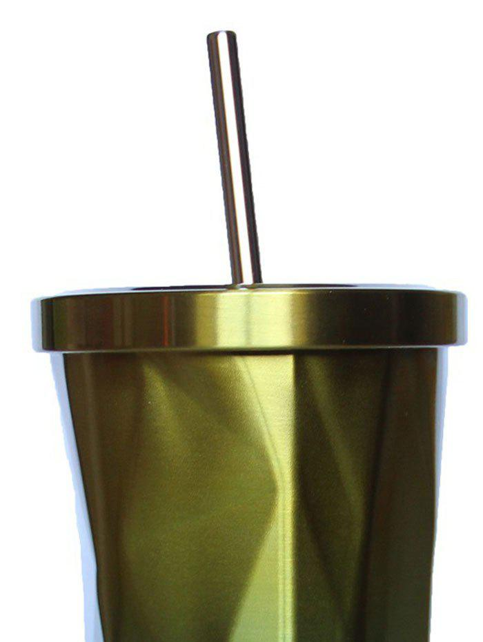 500ML Stainless Steel Vacuum Flask Coffee Cup with Lid Straw - YELLOW 500ML