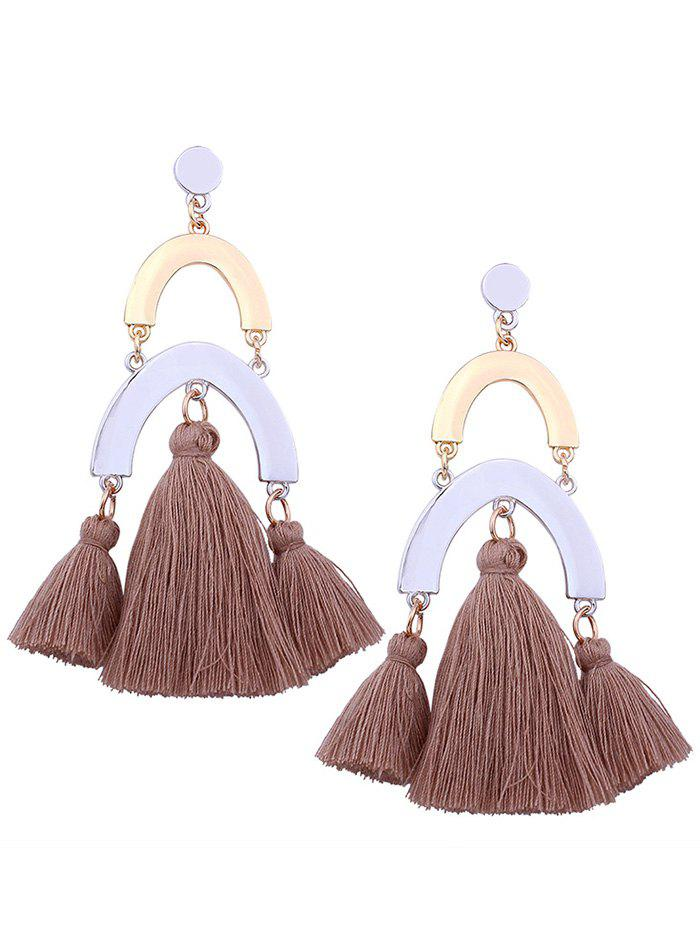 Layered Geometric Tassel Alloy Drop Earrings faux opal geometric earrings