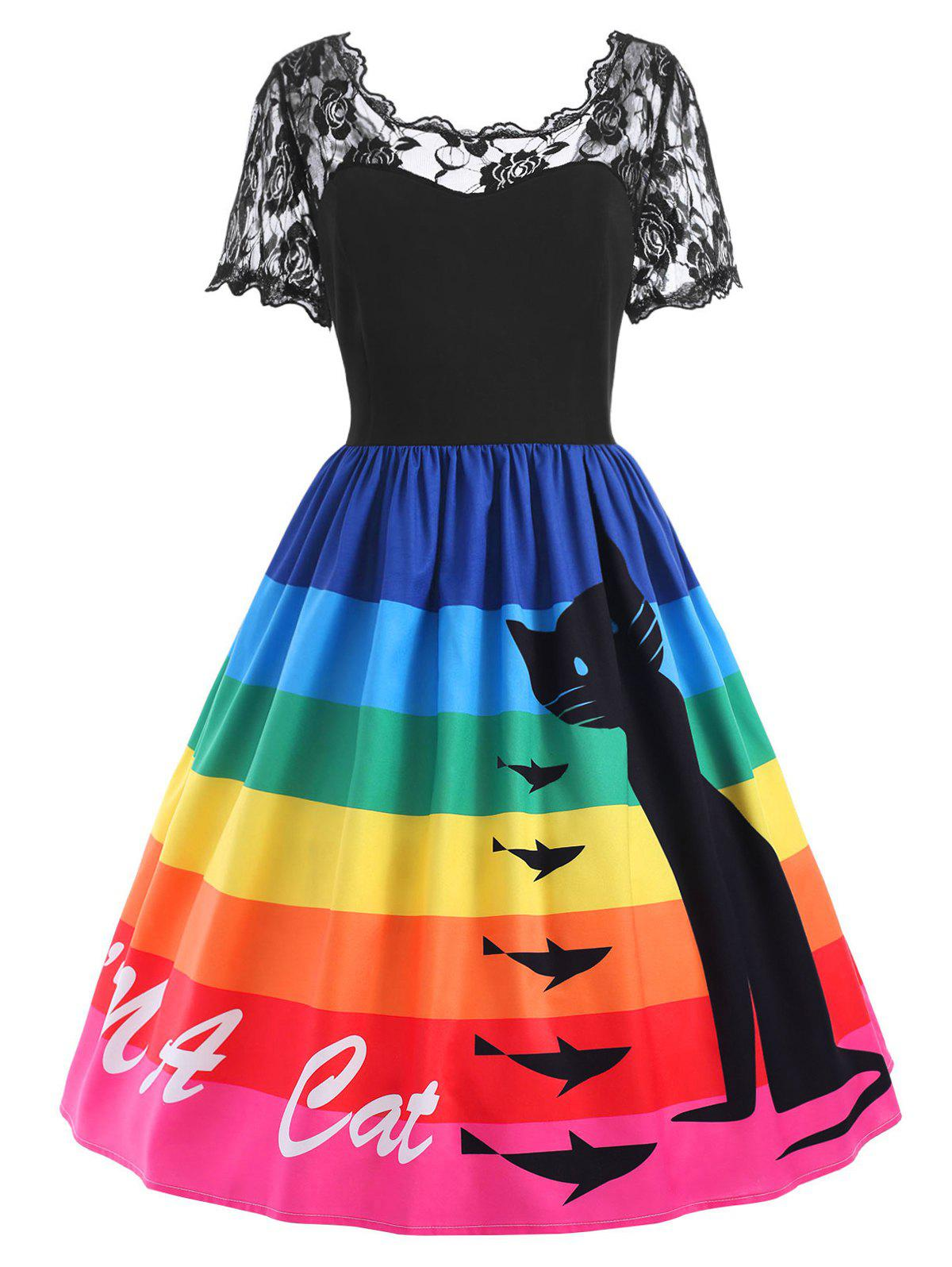 Plus Size Cat Rainbow Print Lace Panel Dress - BLACK 5XL