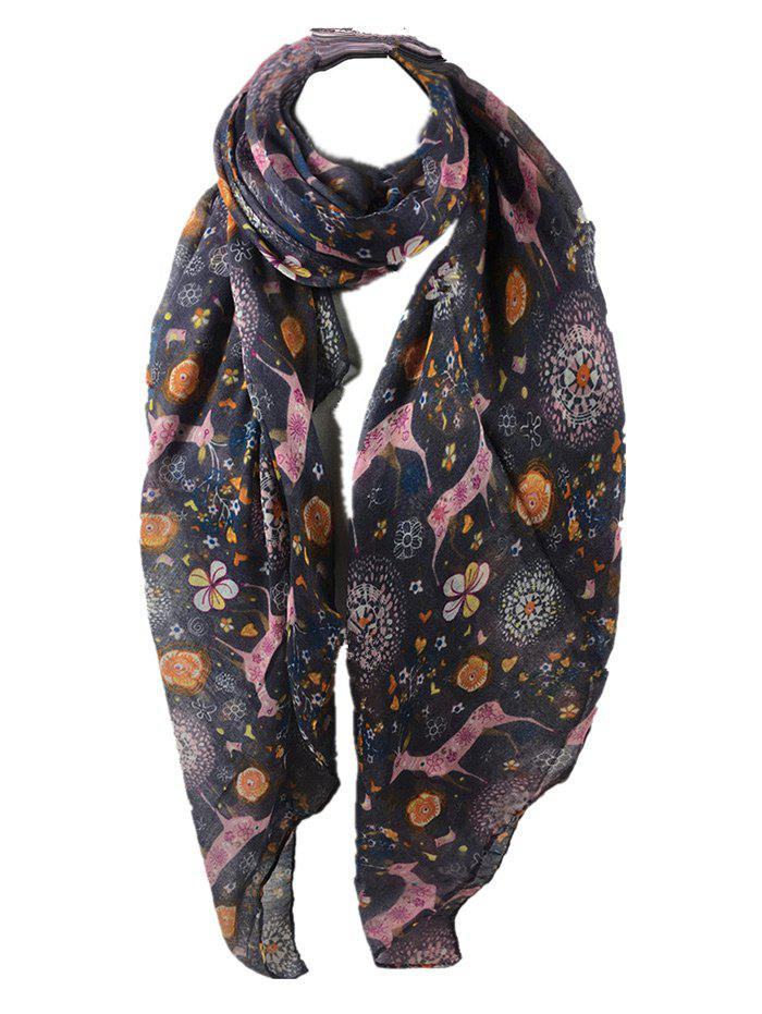 Funny Deer Pattern Silky Spring Fall Scarf - GRAY