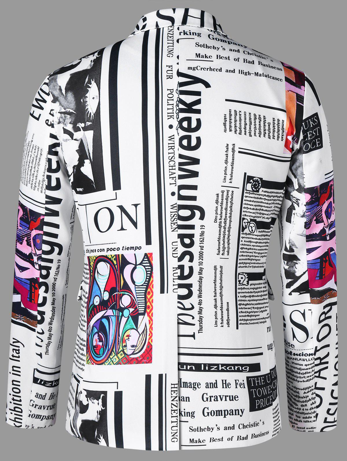 Newspaper Graphic Lapel Blazer - WHITE 2XL