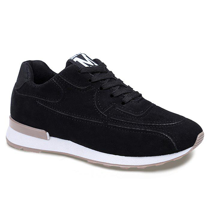 Stitching Breathable Sneakers - BLACK 38