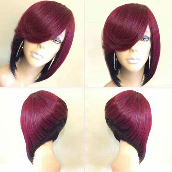 Short Side Parting Straight Colormix Inverted Bob Synthetic Wig medium silky straight bob side parting colormix synthetic wig