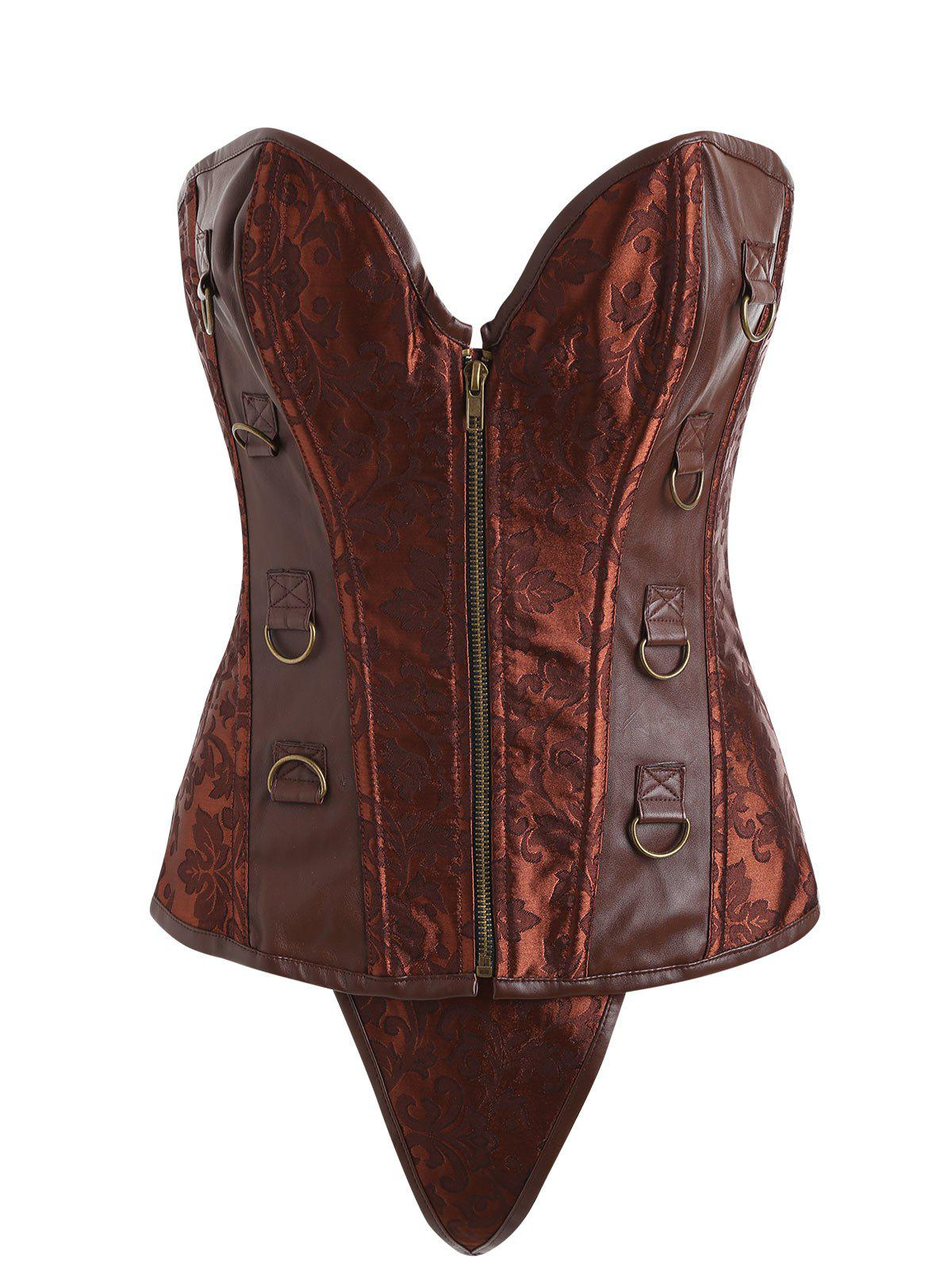 Faux Leather Insert Zip Brocade Corset - SUGAR HONEY 2XL