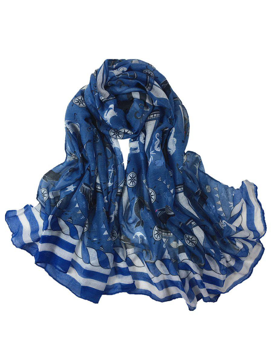 Sailboat Pattern Embellished Silky Long Scarf - DENIM BLUE