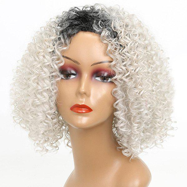 Short Colormix Side Bang Shaggy Kinky Curly Synthetic Wig medium side bang shaggy colormix afro kinky curly synthetic wig