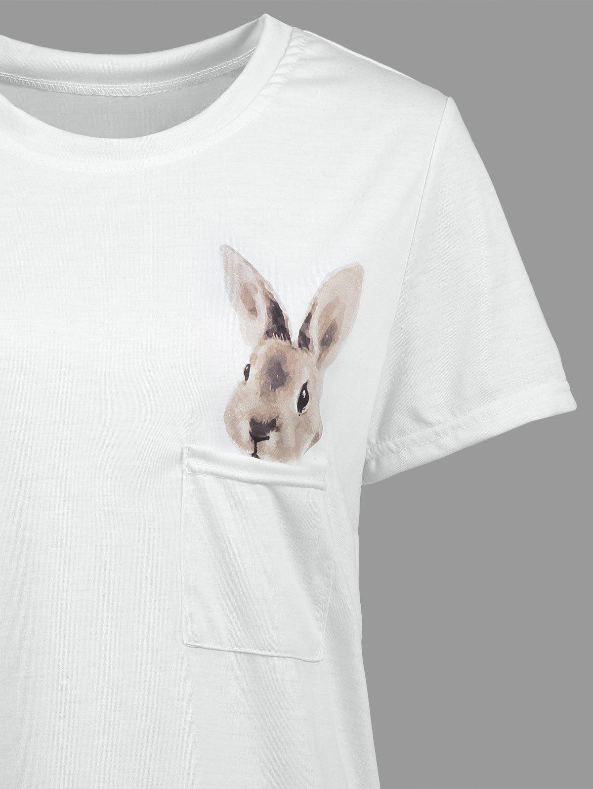 Rabbit Pocket T-shirt - WHITE L