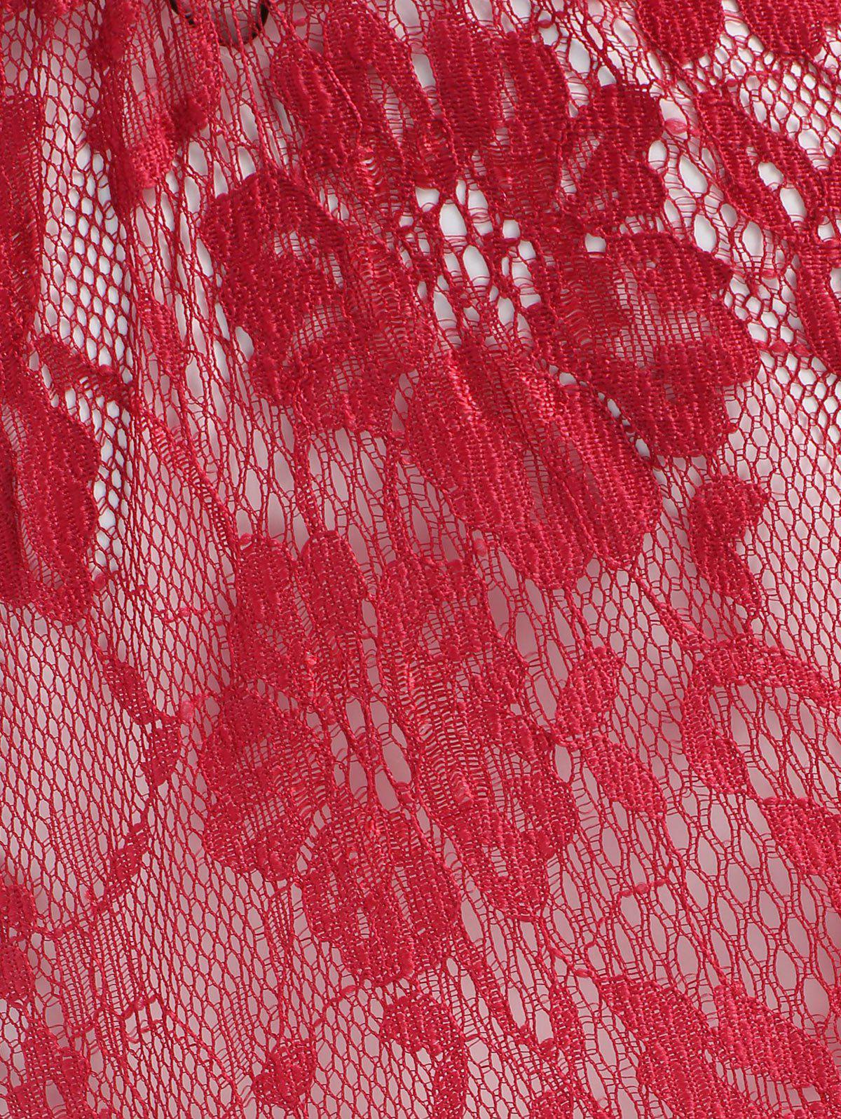 Sheer Lace Teddy with Garter Belts - WINE RED ONE SIZE