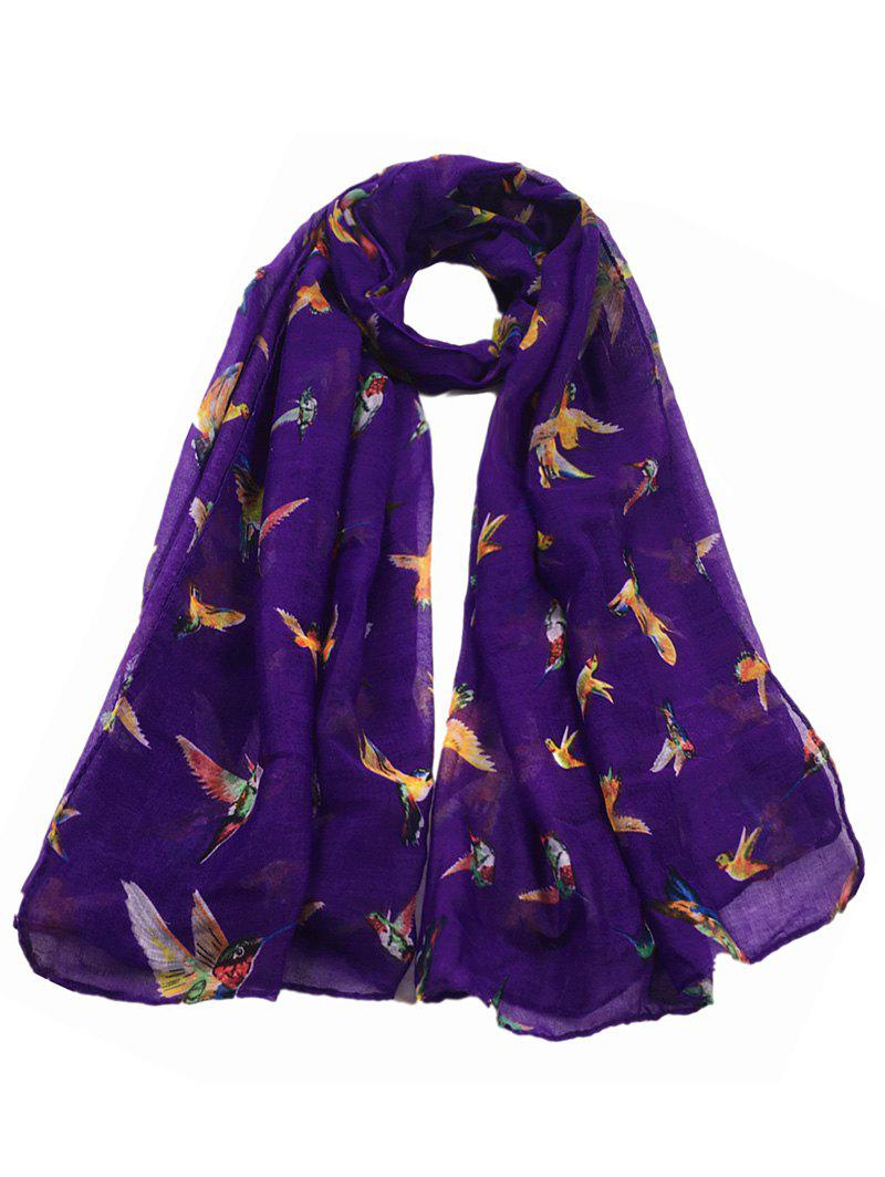 Simple Flying Birds Pattern Embellished Sheer Scarf - PURPLE