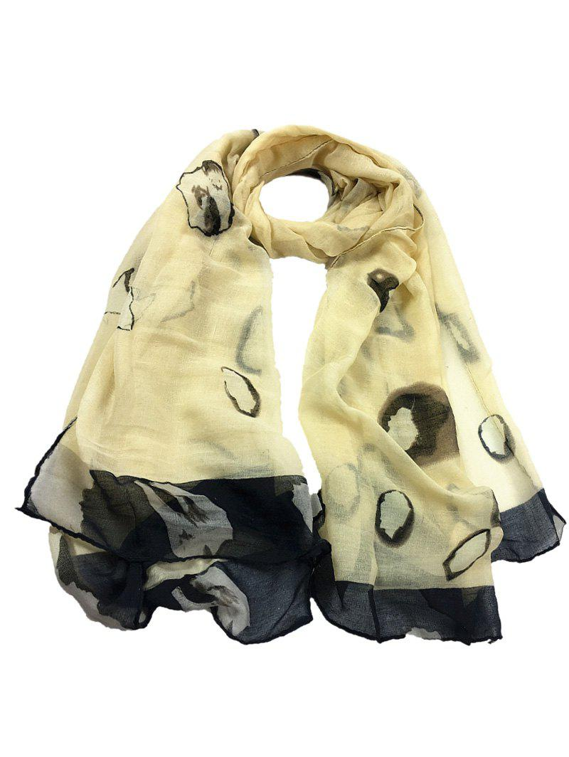 Unique Spotted Pattern Sheer Scarf - BEIGE