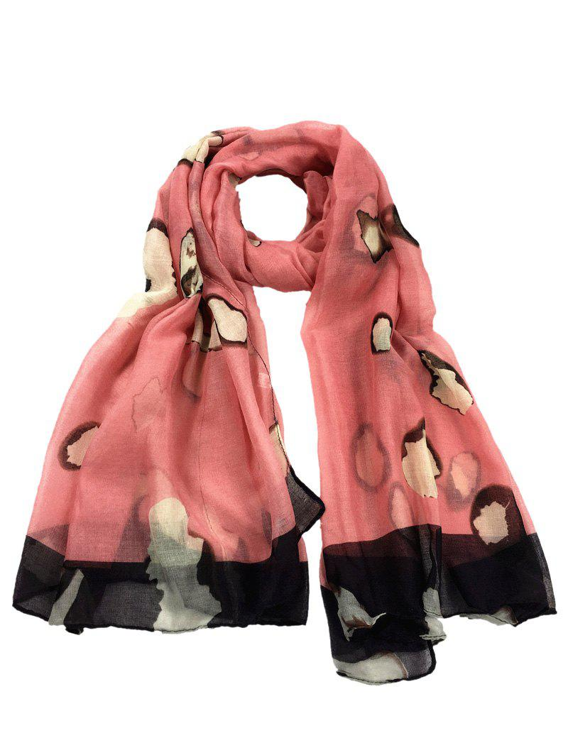 Unique Spotted Pattern Sheer Scarf - WATERMELON RED