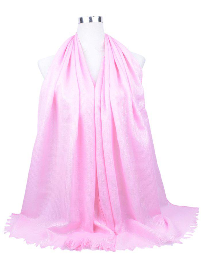 Vintage Solid Color Fringed Shawl Scarf - WHITE / PINK