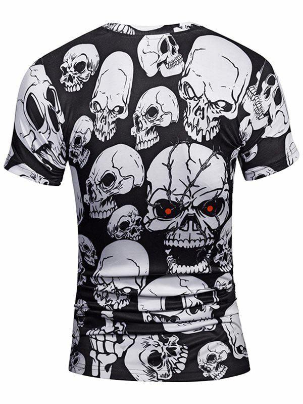 All Over Skulls Print Crew Neck Tee - WHITE/BLACK 2XL