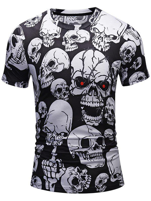 All Over Skulls Print Short Sleeve Tee - WHITE/BLACK L