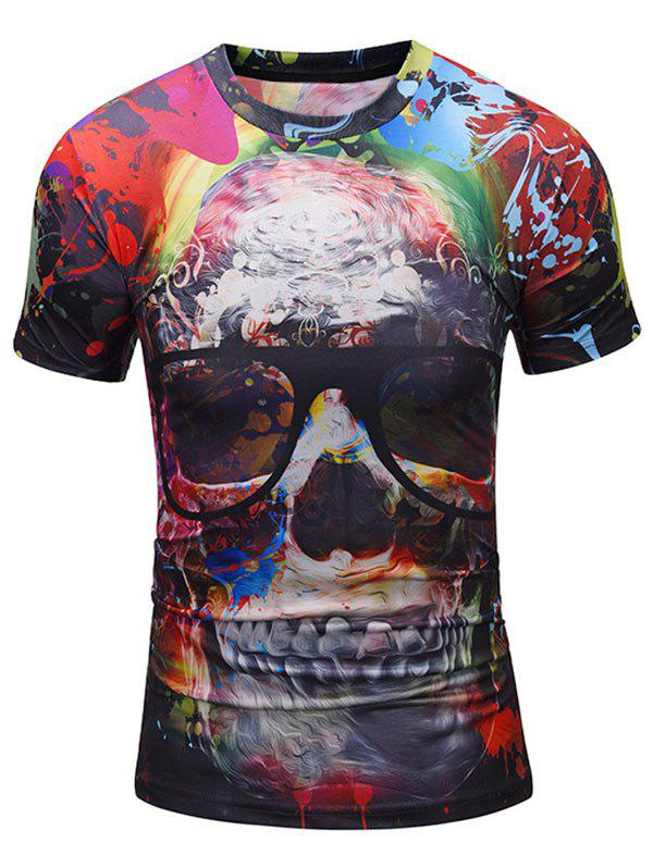 Skull with Glasses Print Crew Neck Tee - COLORMIX XL