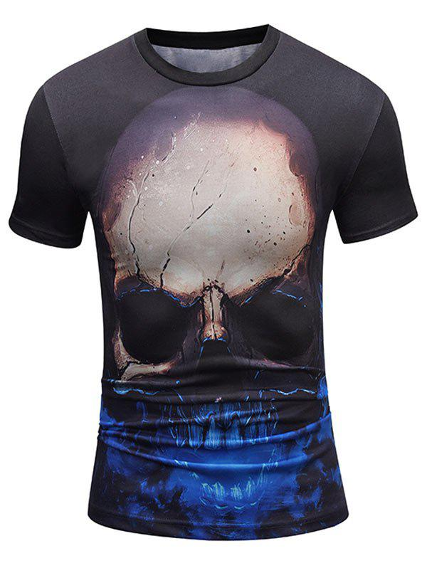 Short Sleeve Crew Neck Skull Pattern Tee - COLORMIX L
