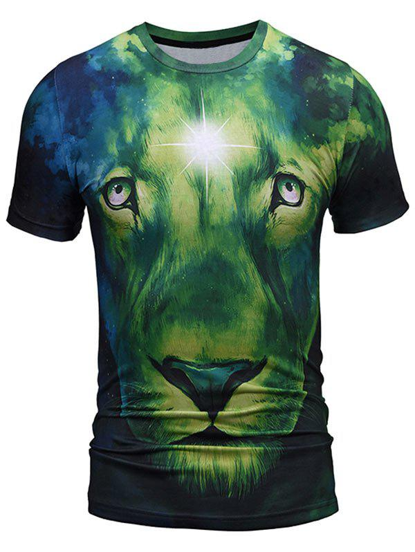 Lion Face Pattern Crew Neck Cool Tee - GREEN L