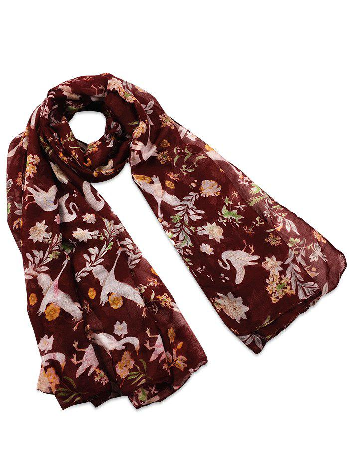 Vintage Swans Pattern Decorated Long Scarf - WINE RED