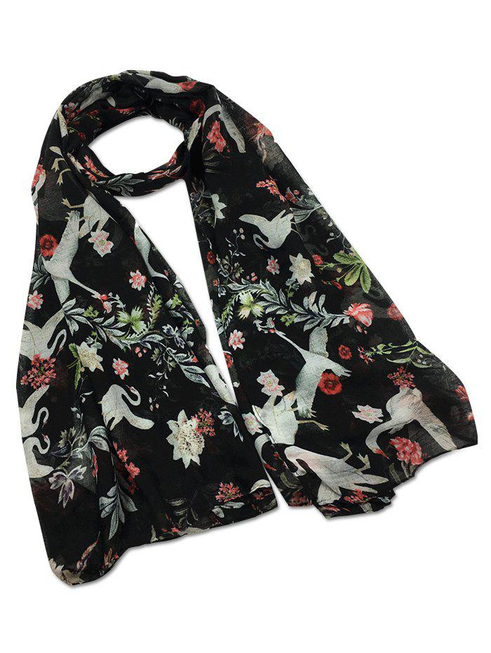 Vintage Swans Pattern Decorated Long Scarf - BLACK