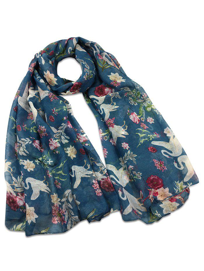 Vintage Swans Pattern Decorated Long Scarf - BLUE