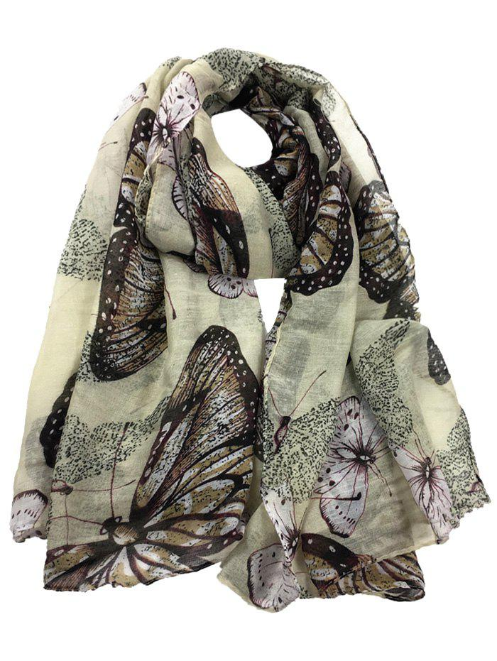 Butterfly Pattern Embellished Silky Long Scarf - BEIGE