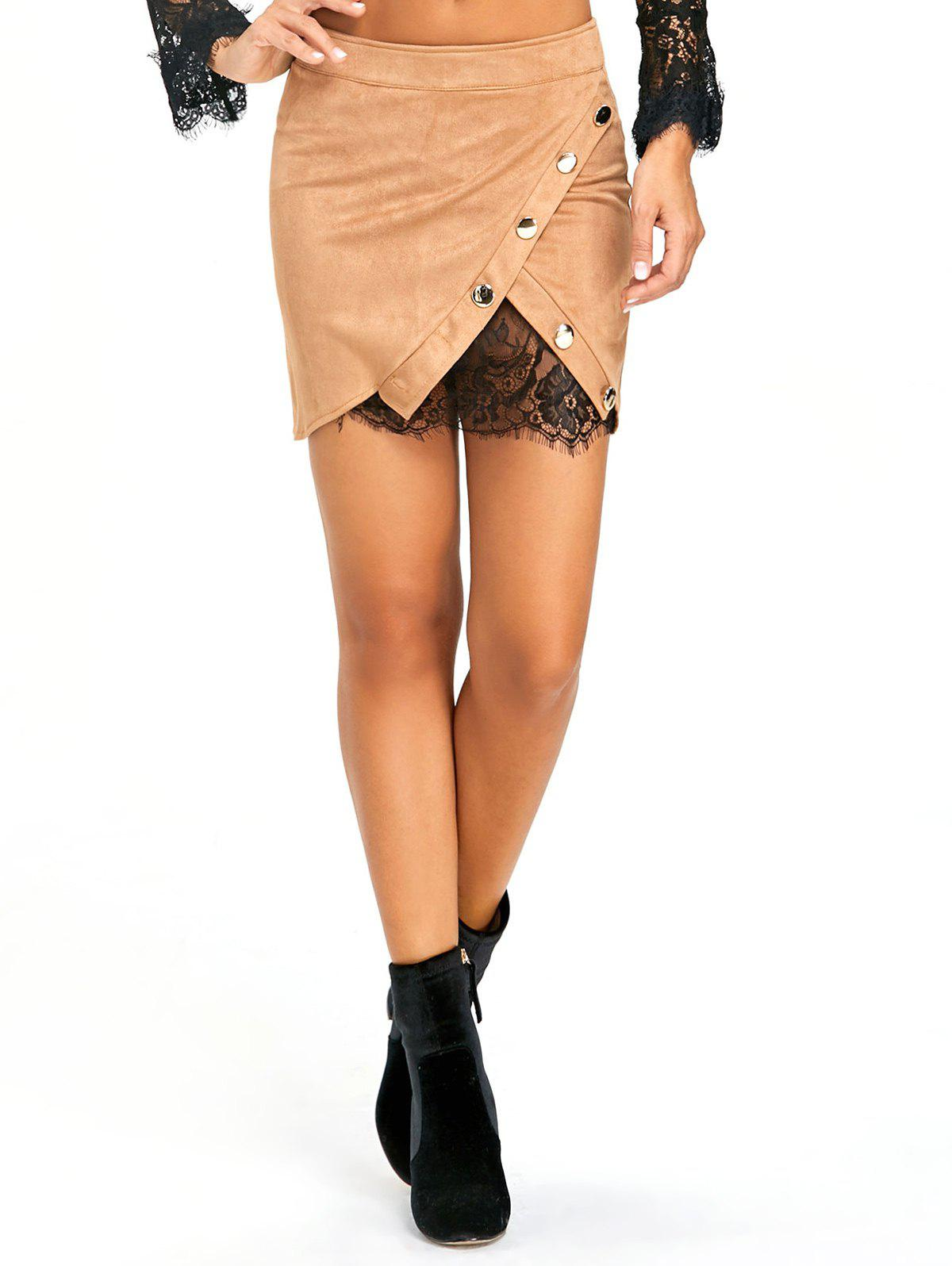 Buttoned Lace Insert Mini Bodycon Skirt - KHAKI L