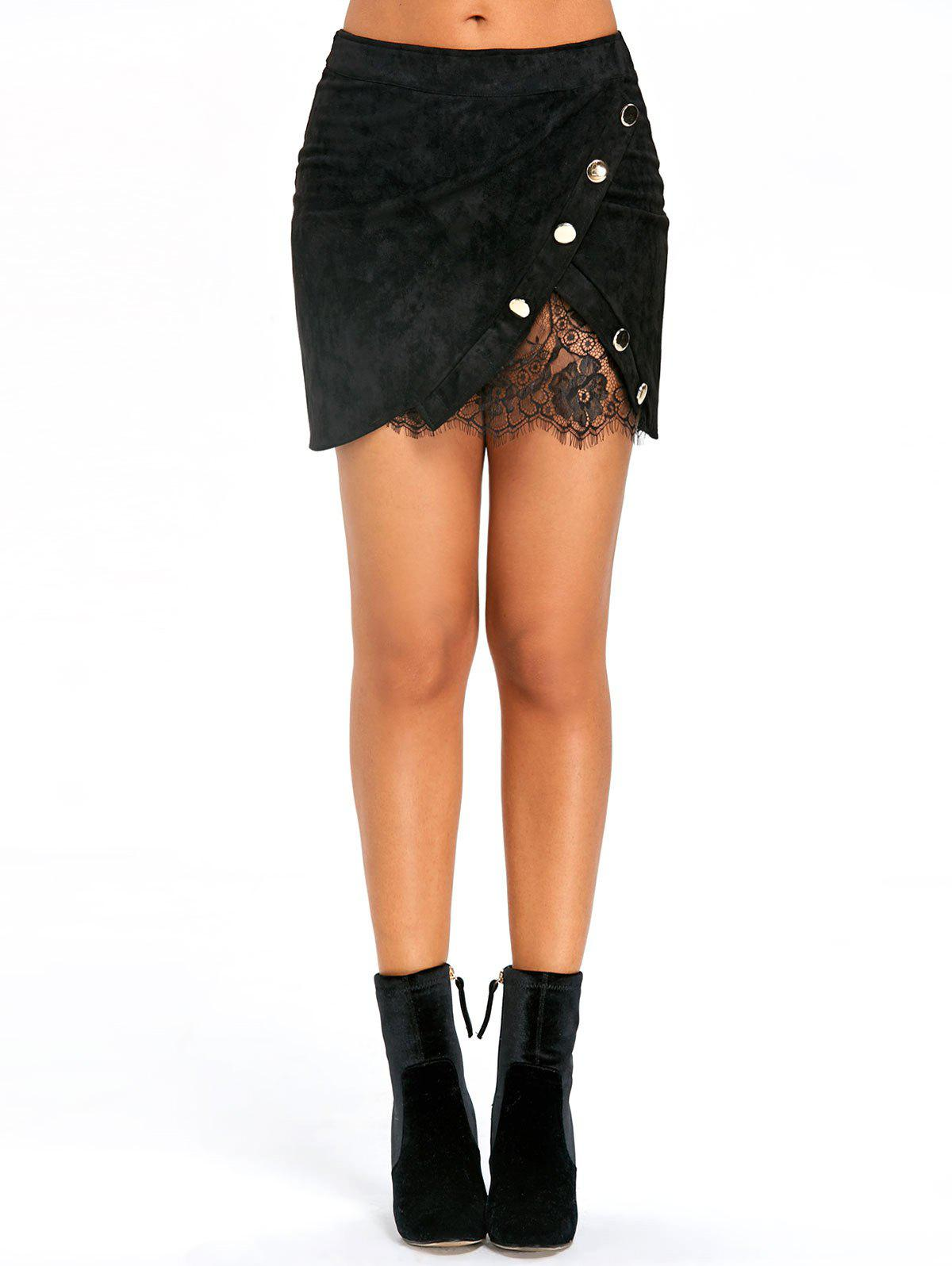 Buttoned Lace Insert Mini Bodycon Skirt - BLACK M