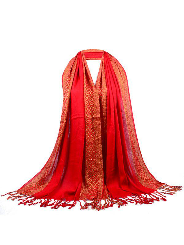 Unique Two Colors Reversible Fringed Silky Scarf - BRIGHT RED
