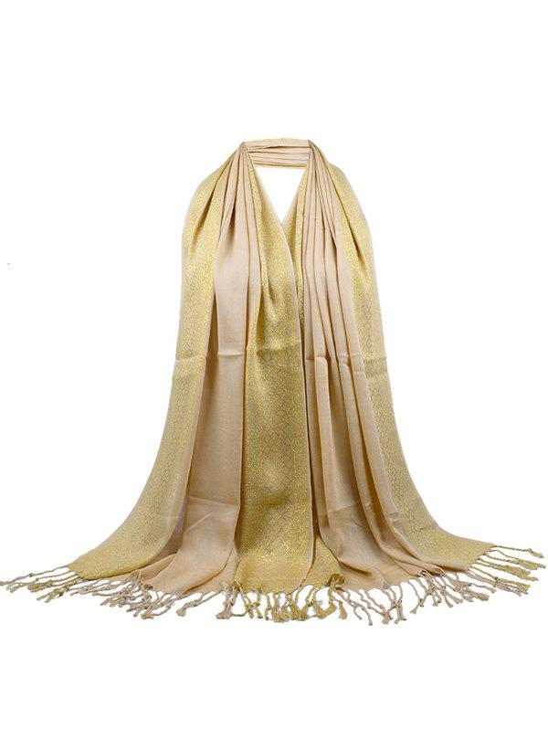 Unique Two Colors Reversible Fringed Silky Scarf - KHAKI