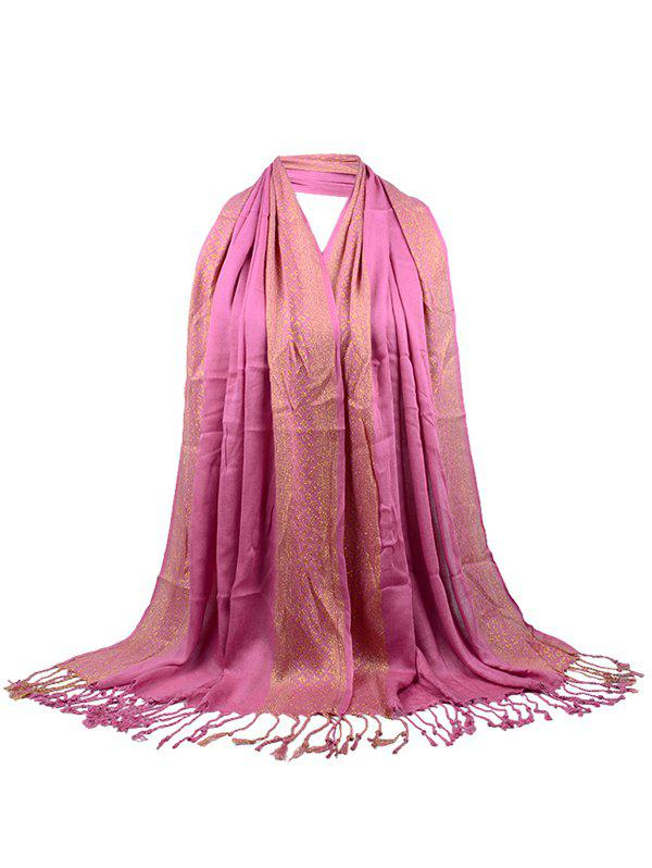 Unique Two Colors Reversible Fringed Silky Scarf - LEATHER PINK