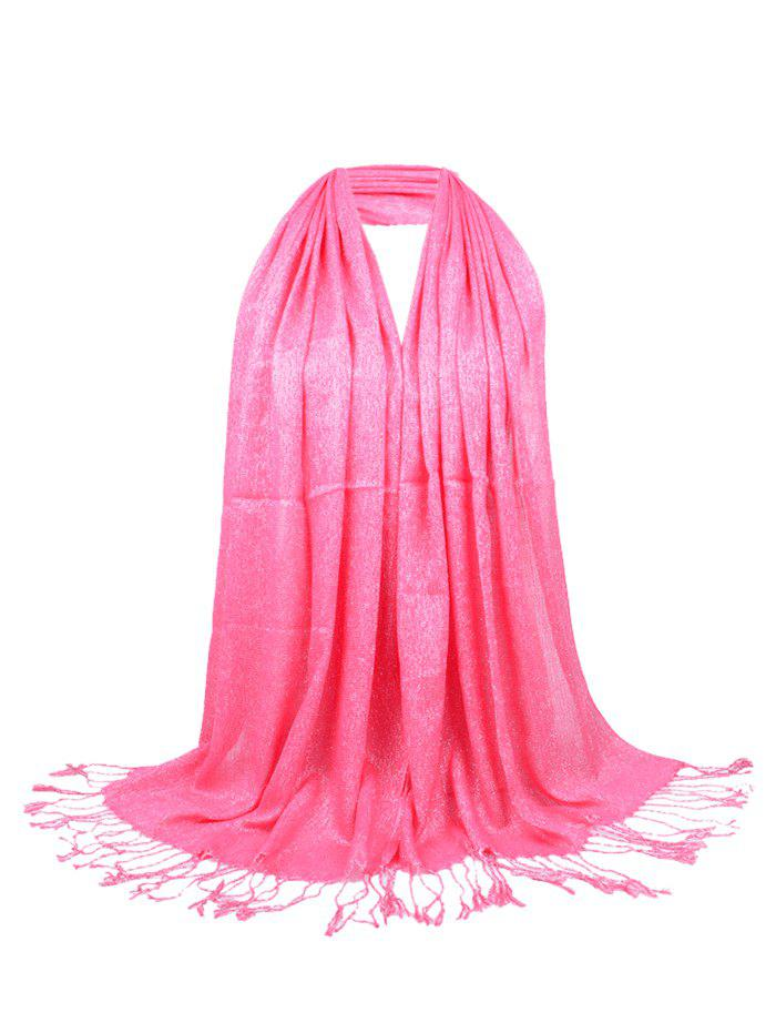 Vintage Fringed Silky Long Scarf - DEEP PINK