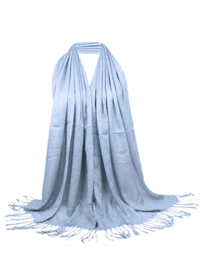 Vintage Fringed Silky Long Scarf - LIGHT GRAY