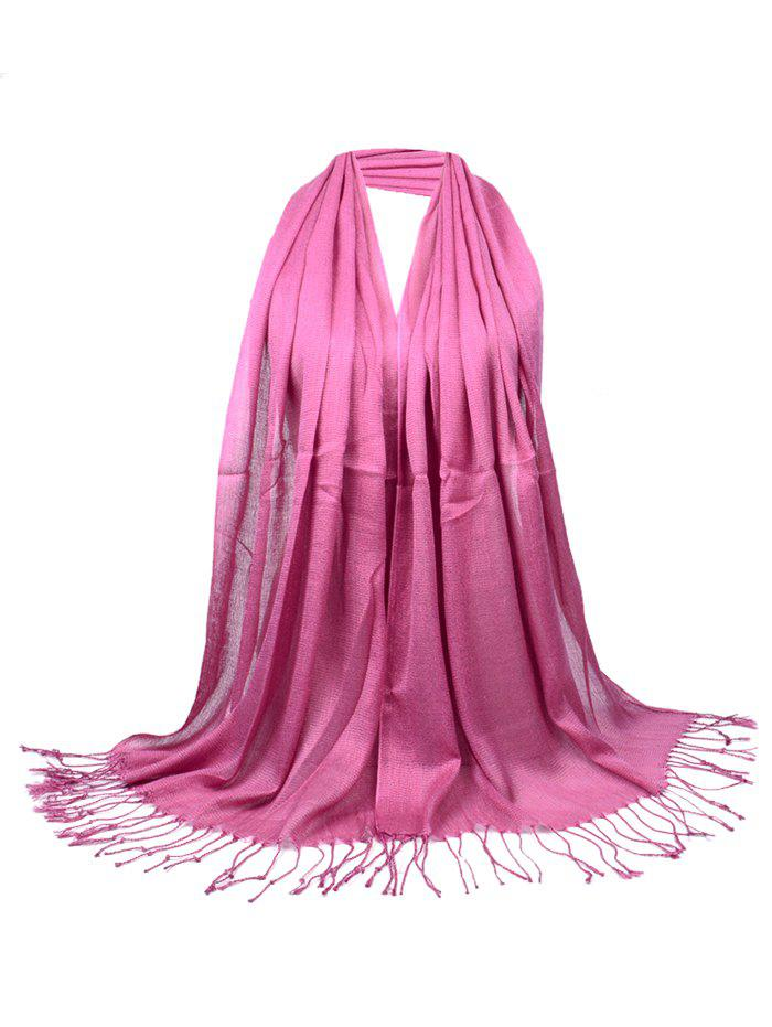 Vintage Fringed Silky Long Scarf - LEATHER PINK