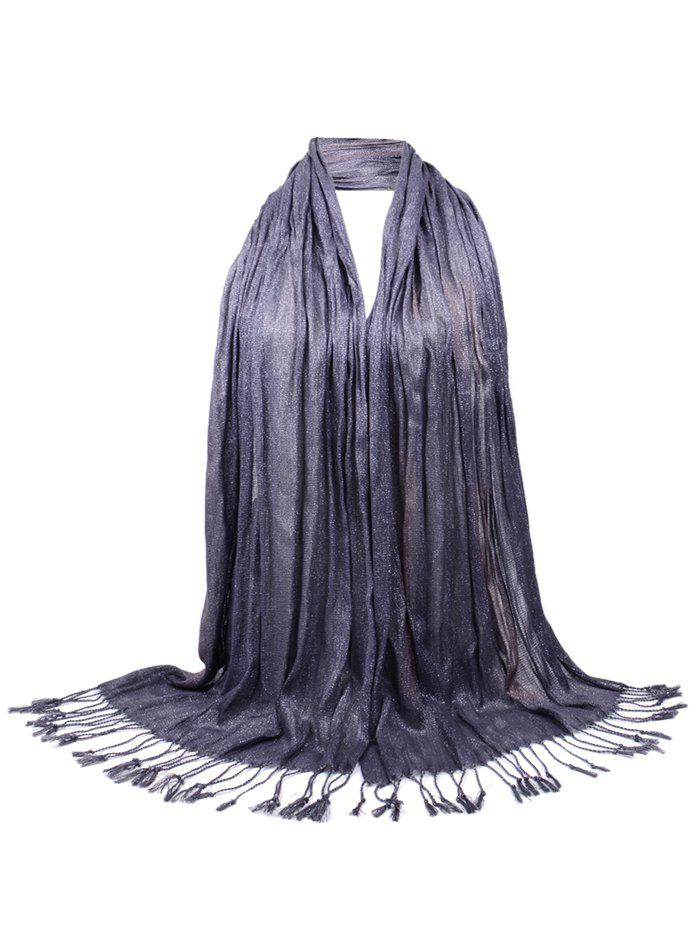 Vintage Fringed Silky Long Scarf - DEEP GRAY