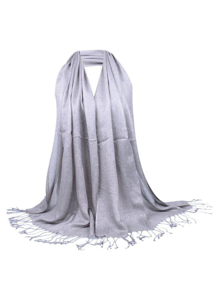 Vintage Fringed Silky Long Scarf - GRAY