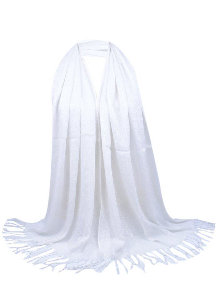 Vintage Fringed Silky Long Scarf - WHITE