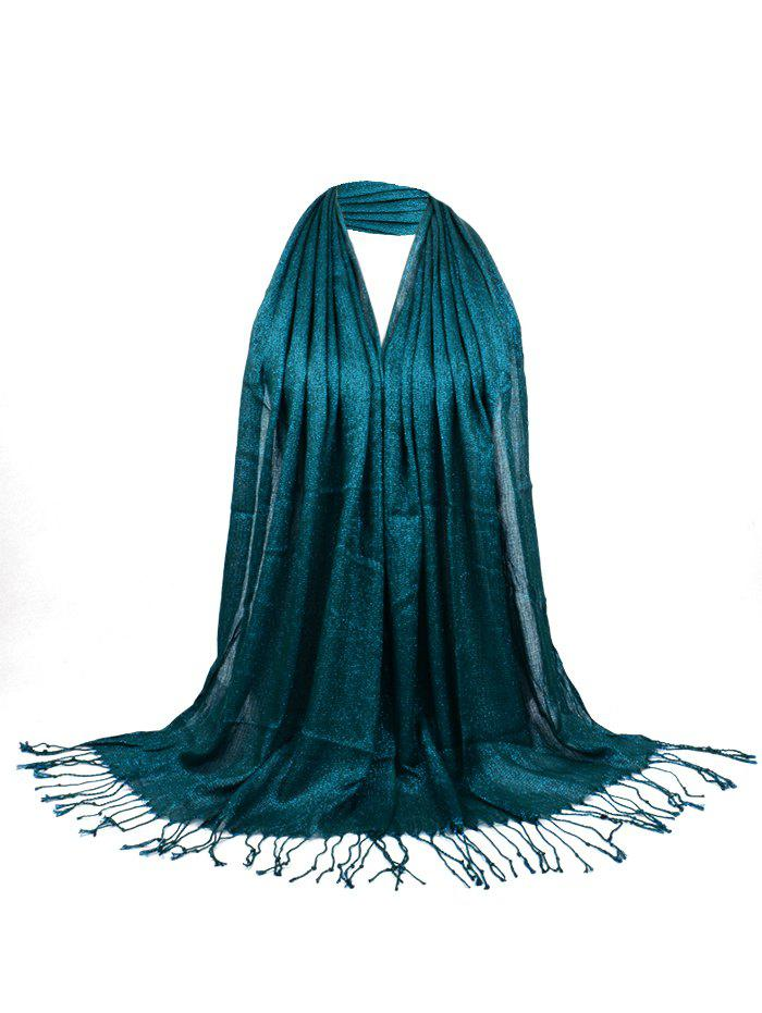 Vintage Fringed Silky Long Scarf - BLACKISH GREEN