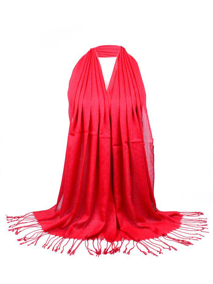 Vintage Fringed Silky Long Scarf - BRIGHT RED