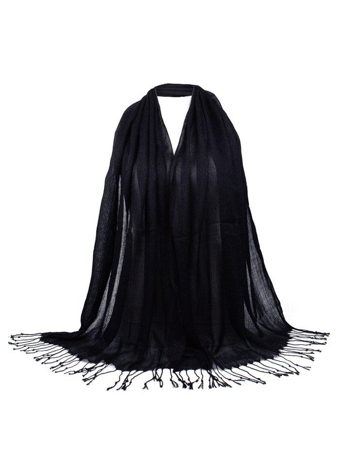 Vintage Fringed Silky Long Scarf - BLACK