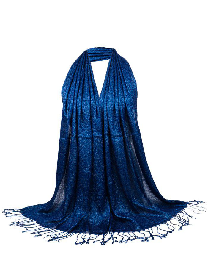 Vintage Fringed Silky Long Scarf - SAPPHIRE BLUE