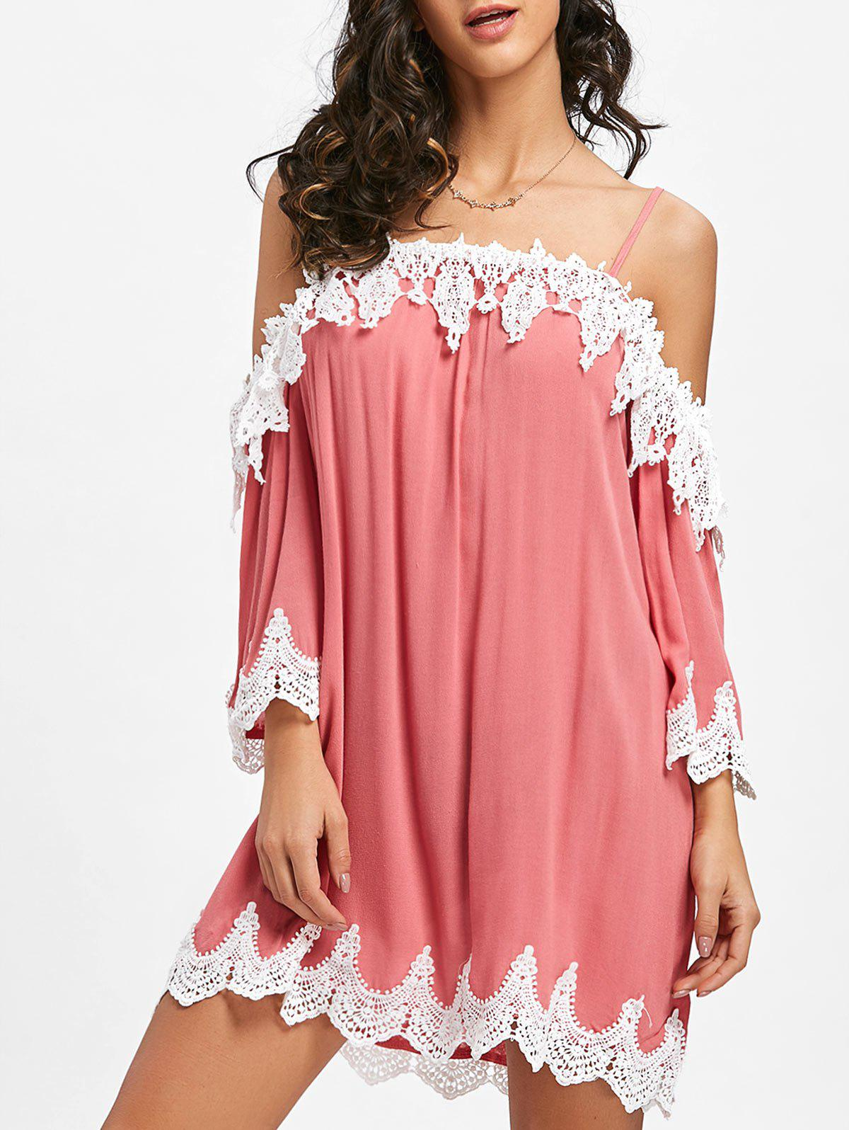 Crochet Trimmed Open Shoulder Mini Dress - PINK M